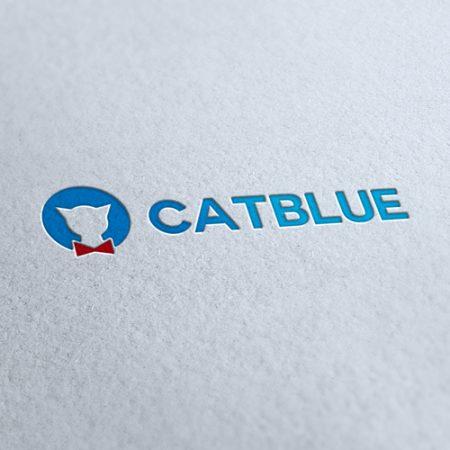 Cat Blue Shop Logo Template